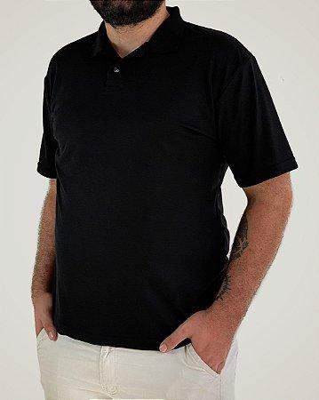Camiseta Polo Preta, Extra Grande, Poliviscose