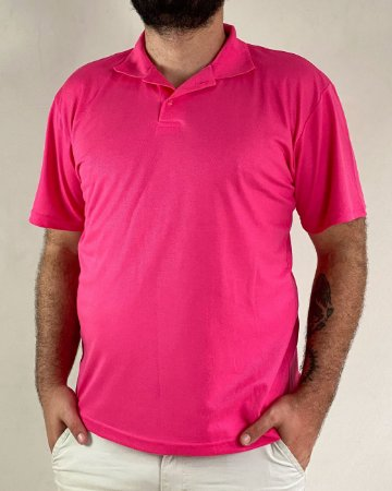 Camiseta Polo Rosa Pink, Extra Grande, Poliviscose