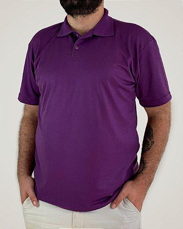 Camiseta Polo Roxa, Extra Grande, Poliviscose