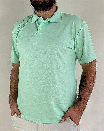 Camiseta Polo Verde Água, Extra Grande, Poliviscose