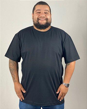 Camiseta Preta, Tamanho Nobre, 100% Algodão, Fio 30.1 Penteado