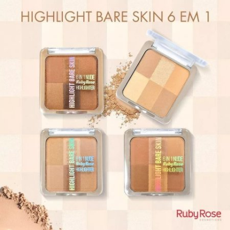 Pó iluminador Highlight Bare Skin 6 em 1 - Ruby Rose