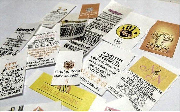 Etiquetas para confecções em geral, cama, mesa e banho, artigos esportivos etc.