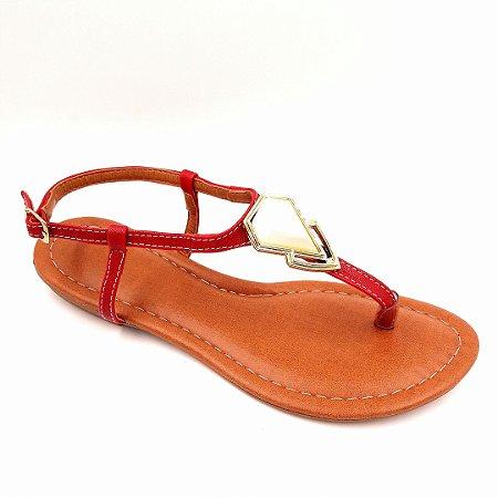 100 - Sandália (rasteira) Vermelho - Ref 122
