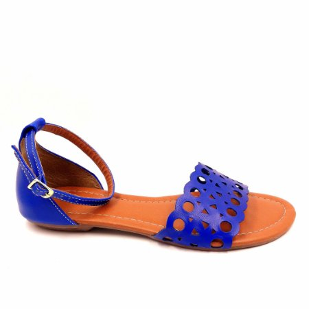 70 - Sandália (rasteira) Azul Vazada - Ref 027