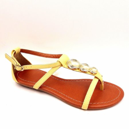 108 - Sandália (rasteira) - Amarelo Bebê -  Ref 124