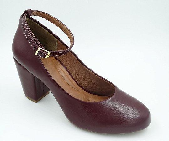 Sapato Boneca - Marsala - Salto Grosso - Ref 151