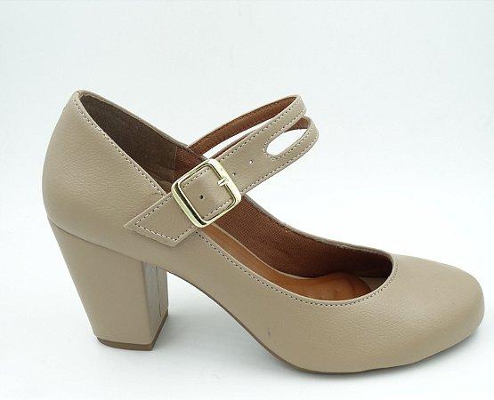 Sapato Boneca - Areia - Salto Grosso - Ref 150