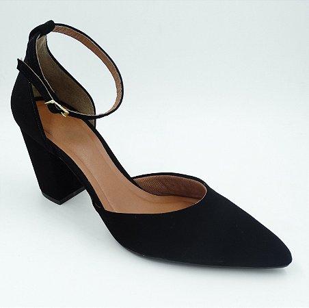 Sapato  Preto Nobuck - Salto Alto - Ref 013