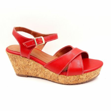 S 13 - Sandália Vermelha - Salto Anabela - Ref 157