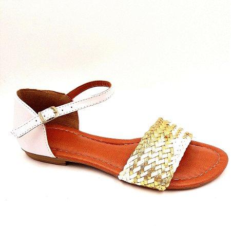 81 - Sandália (rasteira) Ouro / Branco - Ref 027