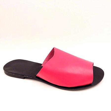 160 - Rasteira - Couro -pink
