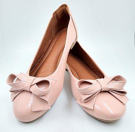 Sapatilha -verniz- rosa- bico redondo