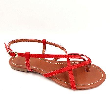 79 - Sandália (rasteira) Vermelha - Ref 117