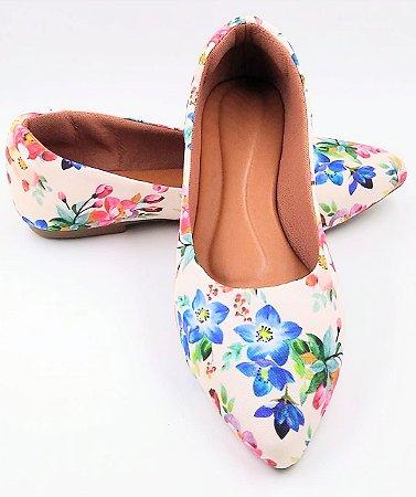 sapatilha -bico fino-floral