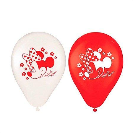"""Balão de Festa Minnie 9"""" 25 Unidades"""
