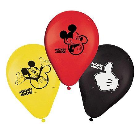 "Balão de Festa Mickey 9"" 25 Unidades"