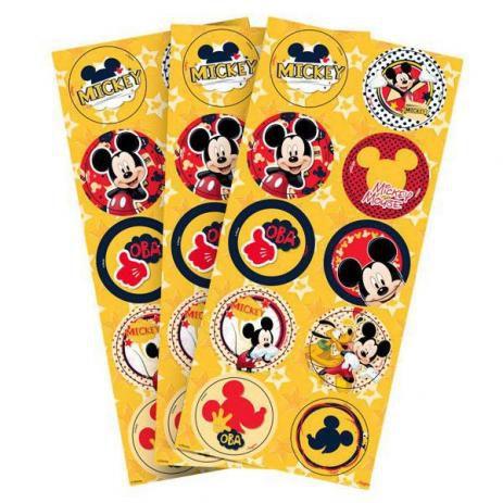 Adesivo Decorativo Redondo Mickey Clássico - 30 Unidades