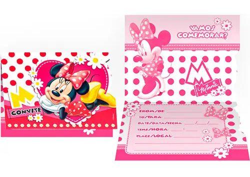 Convite Minnie Vermelho 8 Unidades