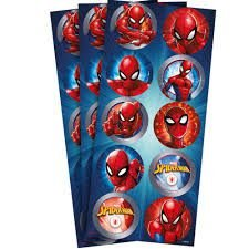 Adesivo Decorativo Redondo Spider Man - 30 Unidades