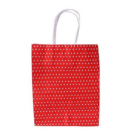 Sacola de Papel Vermelho Poa 18x09x22 cm