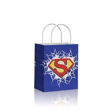 Sacola de Papel Superman Azul e Vermelho 18x09x22 cm
