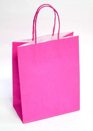 Sacola de Papel Lisa Pink 18x09x22 cm
