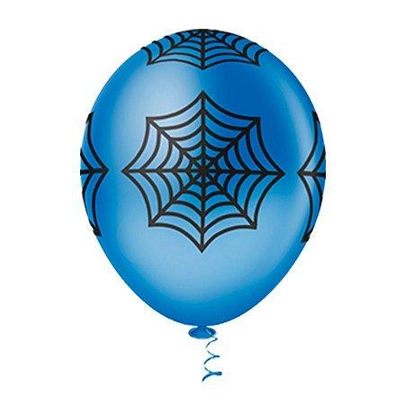 Balão Tema Aranha Azul 25 Unidades
