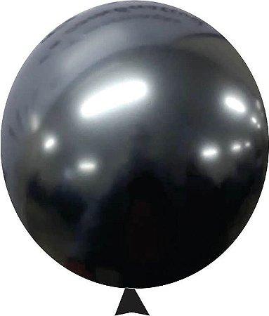 """Balão Alumínio Preto Onix 9"""" 25 Unidades"""