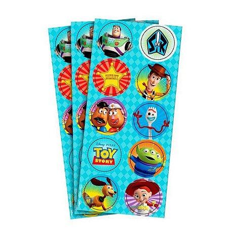 Adesivo Decorativo Redondo Toy Story 4 - 30 Unidades