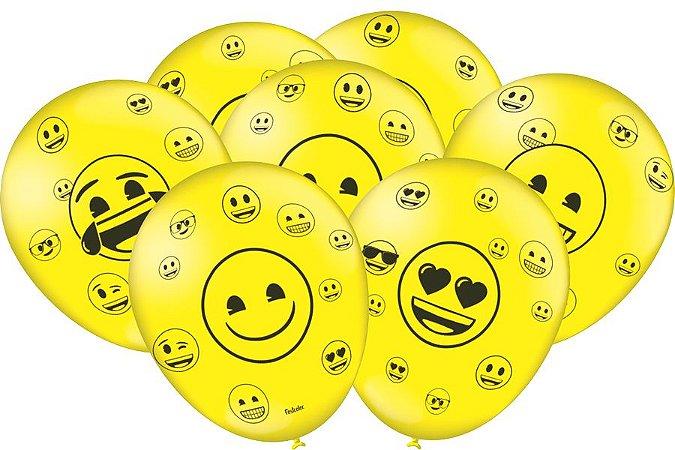 """Balão de Festa Emoji 9"""" 25 Unidades"""