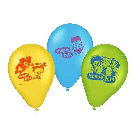 """Balão de Festa Mundo Bita 9"""" 25 Unidades"""