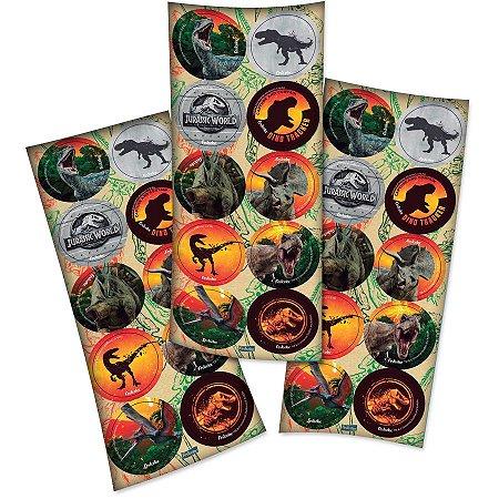 Adesivo Decorativo Redondo Jurassic World - 30 Unidades
