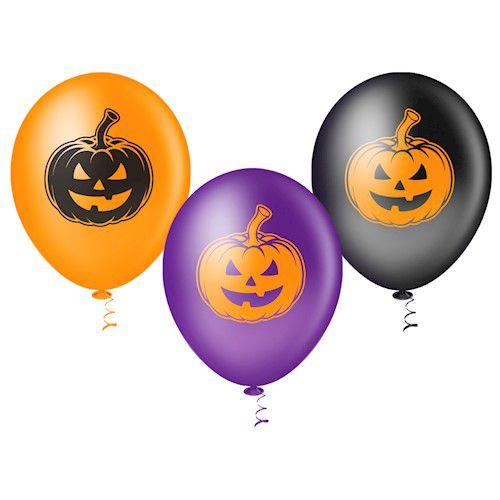 Balão de Festa Tema Abóbora Halloween 25 Unidades