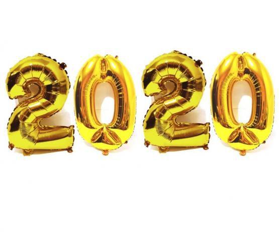 Kit Balão Metalizado 2020 Dourado 70cm