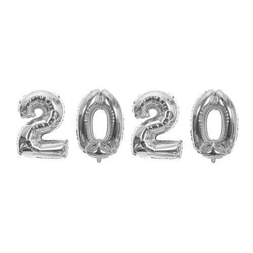 Kit Balão Metalizado 2020 Prata 40cm