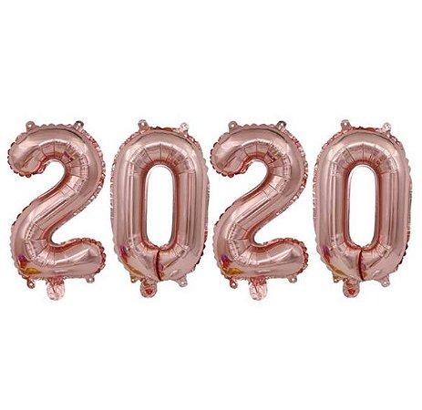 Kit Balão Metalizado 2020 Rose Gold 40cm