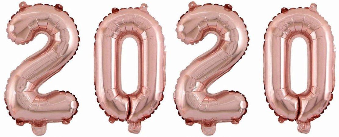 Kit Balão Metalizado 2020 Rose Gold 70cm