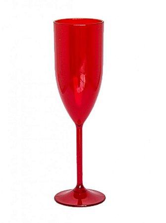 Taça de Champanhe Acrílico Vermelho - 1 Unidade