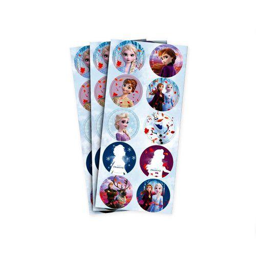 Adesivo Decorativo Redondo Frozen 2 Regina - 30 Unidades