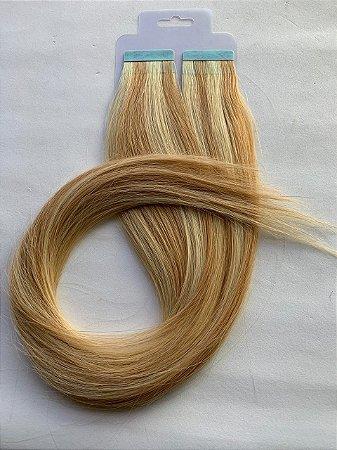 Mega hair fita adesiva #27/613 - 20 fitas - 50cm cabelo humano
