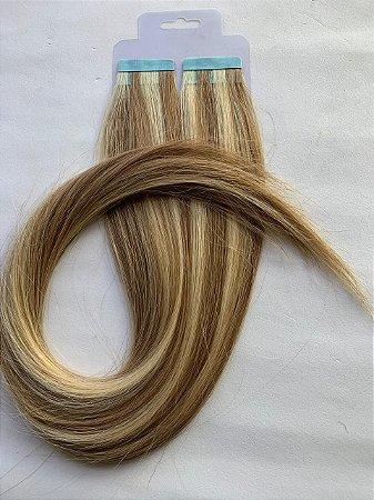 Mega hair fita adesiva #10/613 - 20 fitas - 40cm cabelo humano