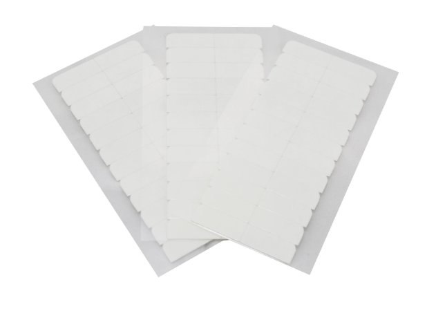 Fita adesiva americana s/brilho dupla face - 4 cm x 0,8 cm – 3 cartelas – branca