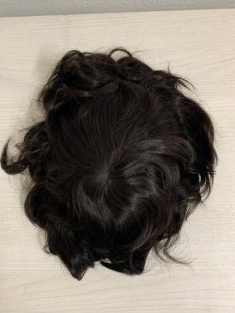 Prótese capilar cor #1b preto natural cabelo humano base grossa