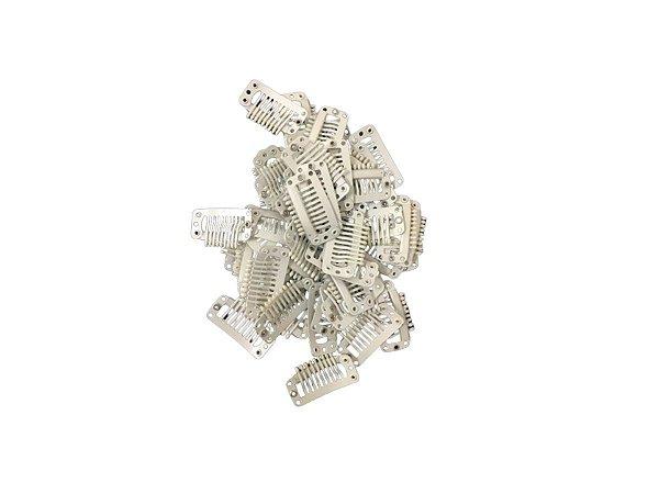 Presilha Tic Tac Para Mega Hair  - Branco / 50 Unidades
