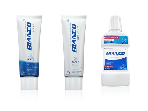 Combo creme dental para clareamento BIANCO ADVANCED REPAIR + PRO CLINICAL 100gr + enxaguante bucal REPAIR 500 ml