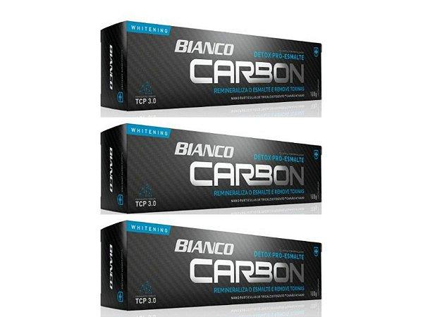 Creme dental BIANCO CARBON CARVÃO ATIVADO 100 gramas 3 unidades