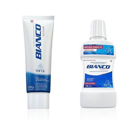 Combo creme dental BIANCO ADVANCED REPAIR 100gr + enxaguante bucal BIANCO REPAIR 500 ml