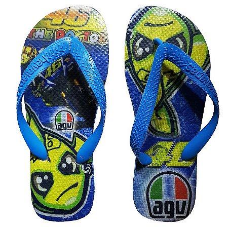 Chinelo Havaiana personalizado Valentino Rossi 46. Cod. 2307 Tam. 33/34 Azul