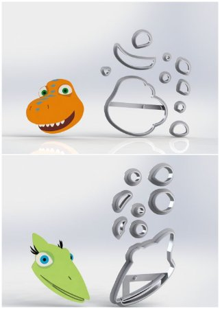 Cortador Kit Dinotrem - 2 Modelos modulares (Dinossauros)